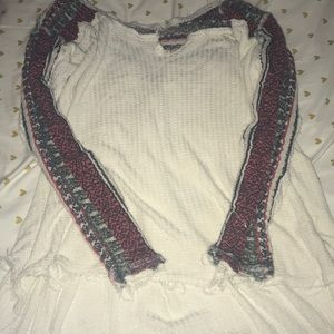 Free People Henley with Patterned Arms and Back